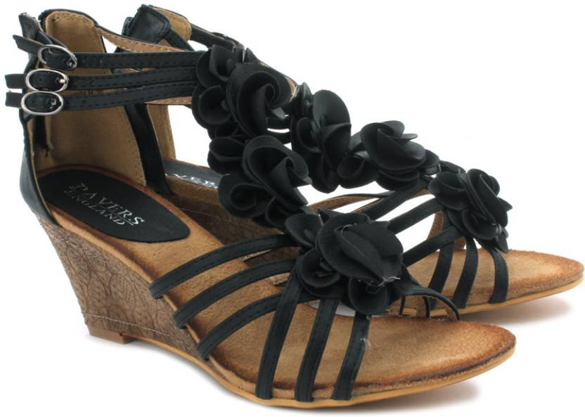 2735222bc3be Pavers England Women Black Wedges - Buy Black Color Pavers England Women  Black Wedges Online at Best Price - Shop Online for Footwears in India