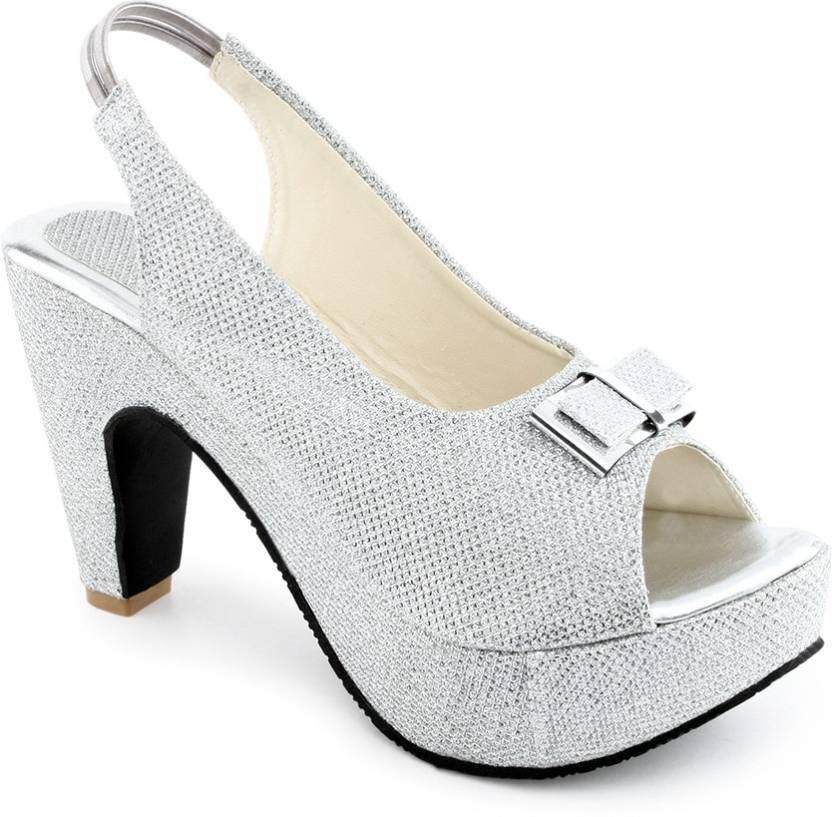 Shoe Lab Women Silver Heels - Buy Silver Color Shoe Lab Women ...