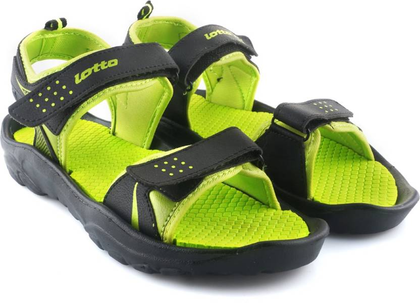 Lotto Men Black/Lime Sports Sandals