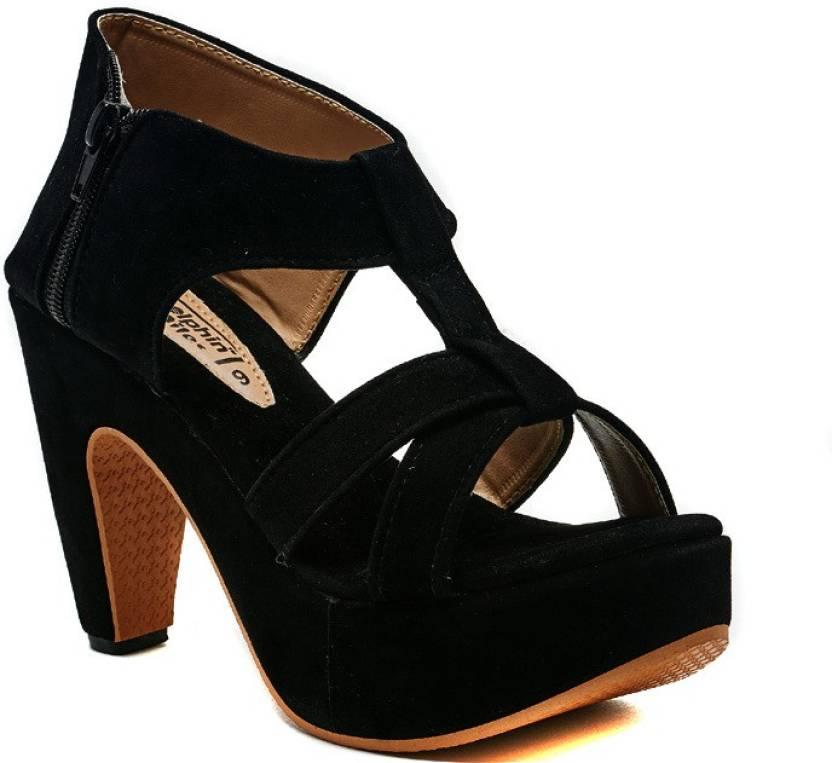 Dolphin Miles Women Black Heels - Buy Black Color Dolphin Miles ...