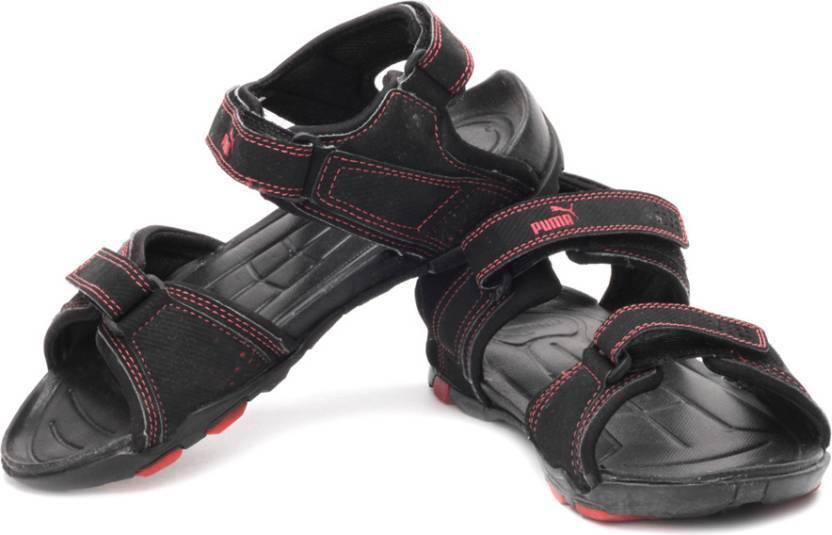 Puma Men Black-High Risk Red Sports Sandals