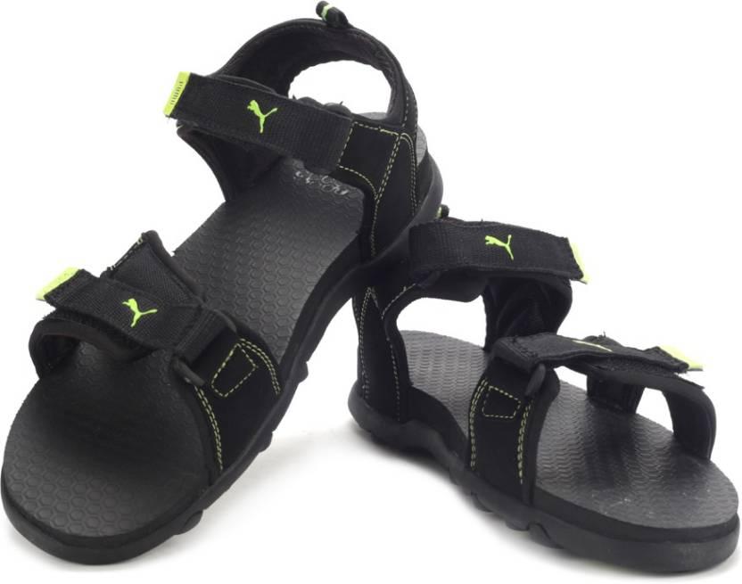 Puma Men black-black-sharp green Sports Sandals - Buy Black 8995b1023