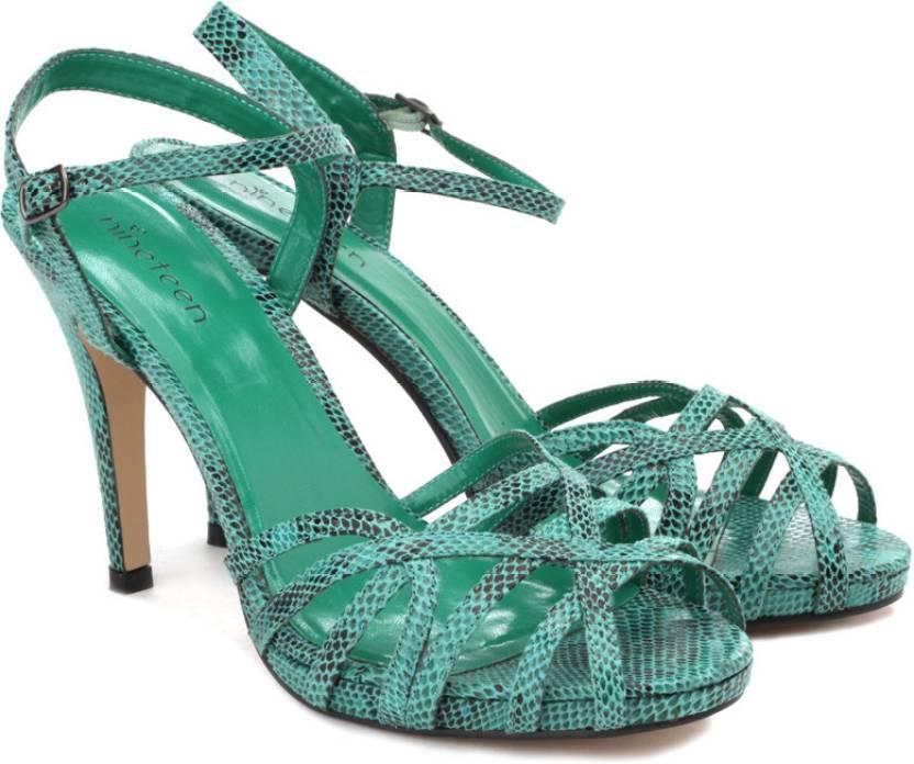 186b3cc132c Nineteen Women Green Heels - Buy Green Color Nineteen Women Green Heels  Online at Best Price - Shop Online for Footwears in India