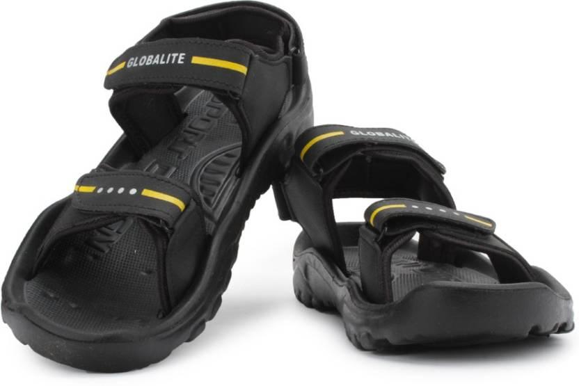 4ddb0b7ff63b Globalite Men Black Yellow Sports Sandals - Buy Black