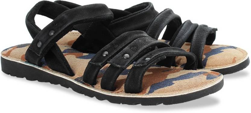 Arrow Men Black Sports Sandals