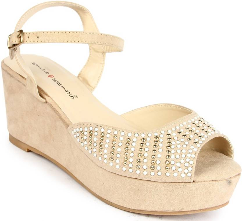 factory authentic fashion style attractive price Kiss Kriss Women Beige Wedges - Buy Beige Color Kiss Kriss ...