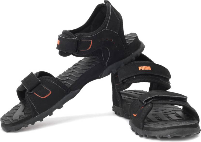 Puma Men 02, Black , Orange Sports Sandals