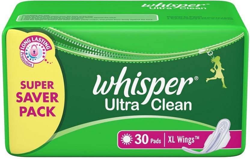 Whisper Ultra Clean - Xl Wings 30 Pads Pack Sanitary Pad | Buy Women ...