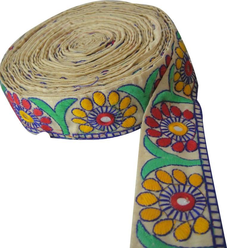 Inhika 9 Mtr Saree Lehenga Kutch Work Lace Border Trim Floral
