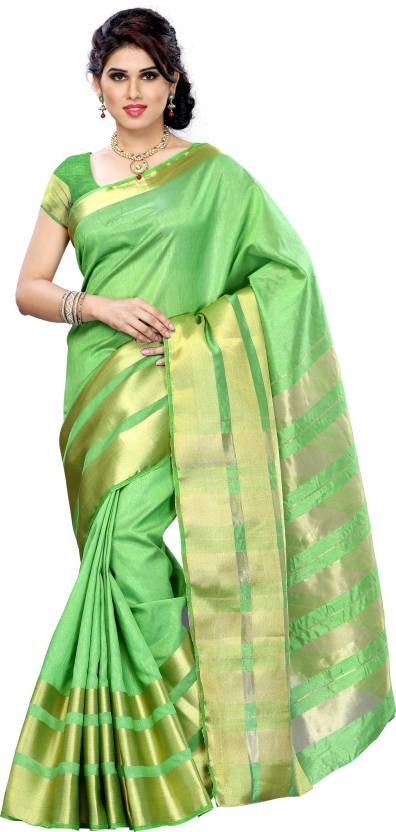 The Big Fat!! Minimum 50% Off On Wedding Carnival | Mimosa Solid Kanjivaram Silk Sari  (Green) @ Rs.849