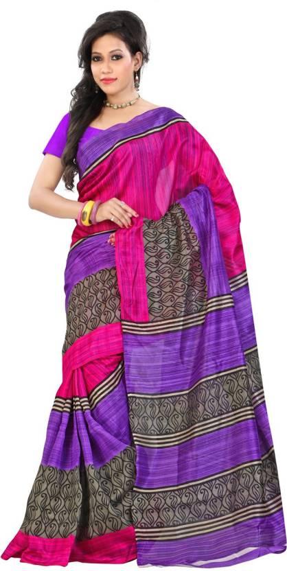 Ambaji Striped Bhagalpuri Silk Saree