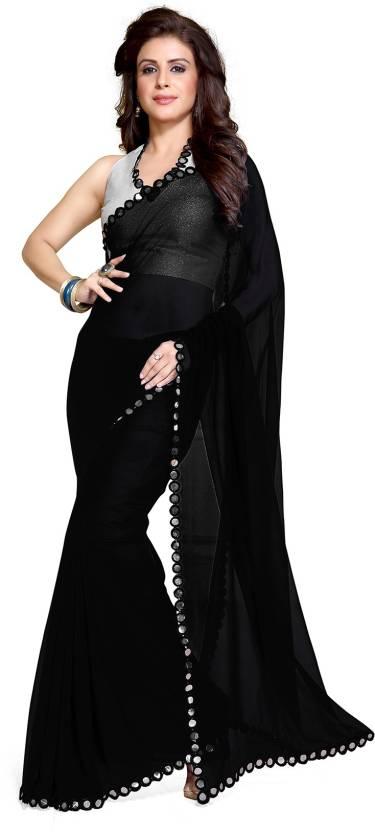 eee8731a8cb4fa Buy Mirchi Fashion Embellished Bollywood Synthetic Georgette Black ...