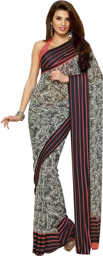 Buy Neerus Printed Daily Wear Georgette Multicolor Sarees