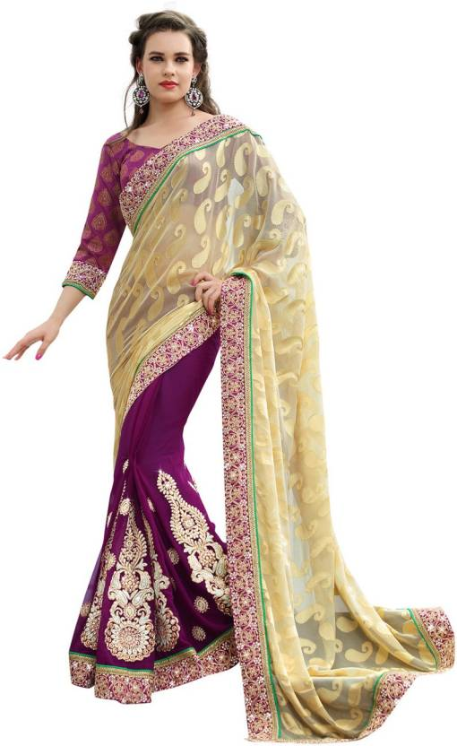 Ambaji Geometric Print Fashion Chiffon, Brasso Saree