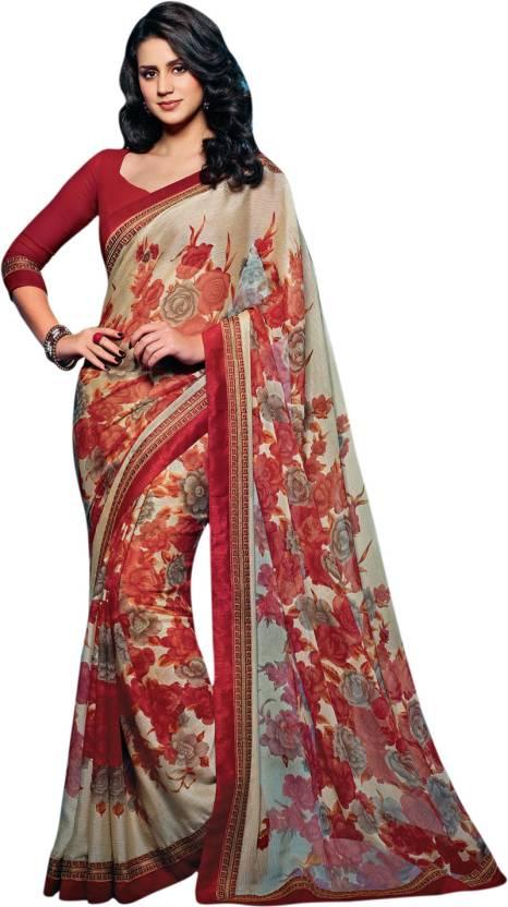 5dacc60ed2 Buy Vishal Floral Print Fashion Brasso Maroon, Beige Sarees Online ...