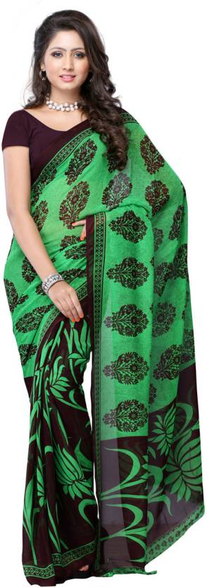 Ambaji Geometric Print Fashion Georgette Saree
