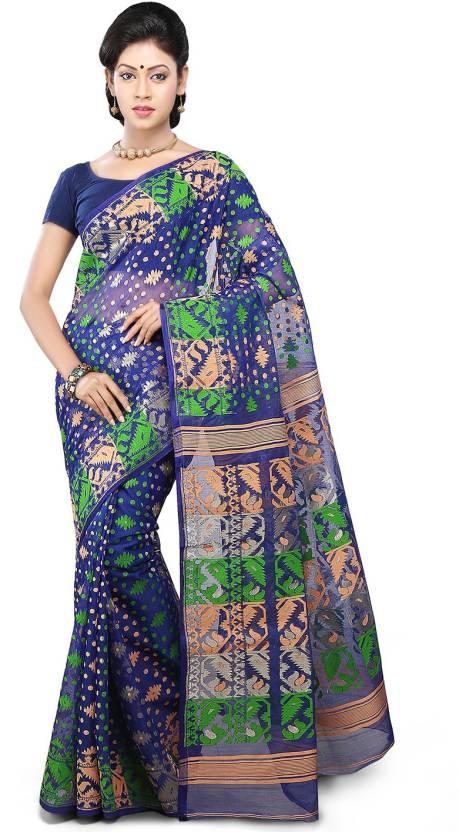 19dc87a16 Buy Utsav Fashion Embellished Fashion Cotton Blue Sarees Online ...