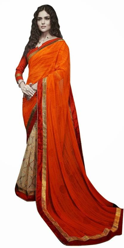 EthnicBasket Printed Fashion Handloom Georgette Saree