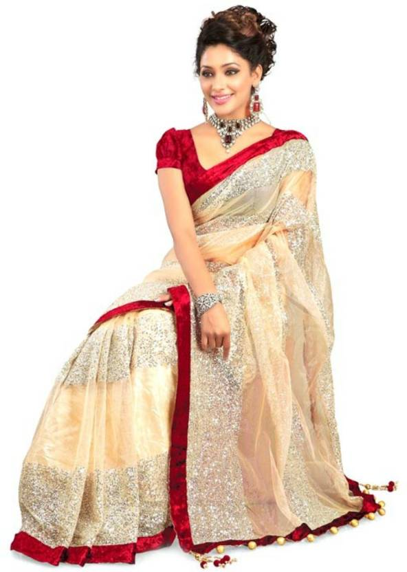36981c4df Indian E Fashion Self Design Bollywood Net Saree (Beige