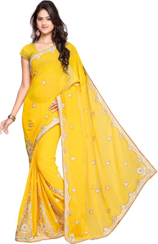c942a7d2b2 Buy Chandra Silk Mills Embroidered Fashion Art Silk Yellow Sarees ...