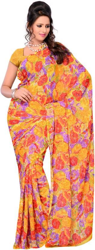 Ambaji Floral Print Fashion Chiffon Saree