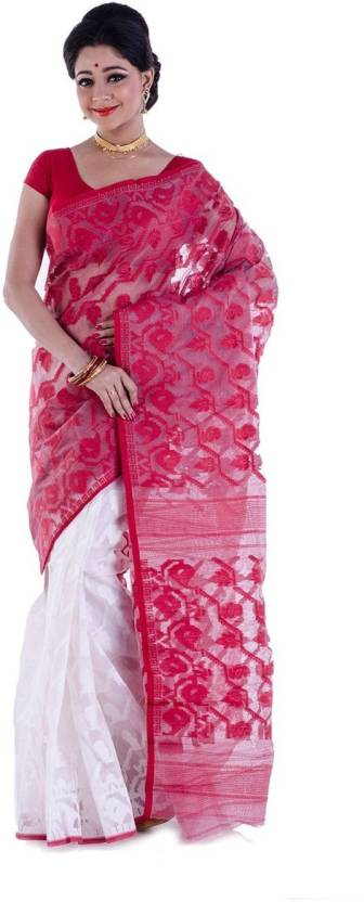 247832e2f27 Rudrakshhh Dhakai Self Design Jamdani Handloom Cotton Saree. ON OFFER