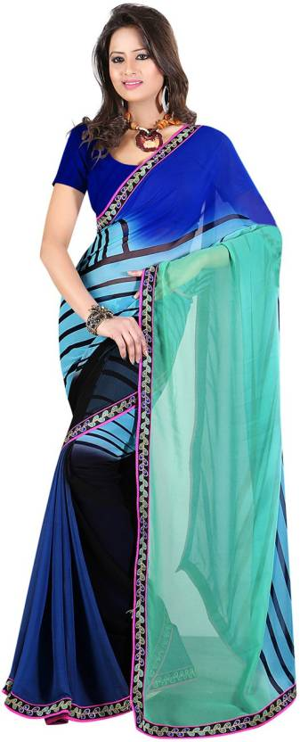 Ambaji Striped Fashion Georgette Saree