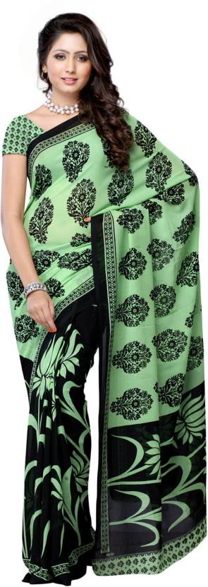 Ambaji Geometric Print Fashion Georgette Saree