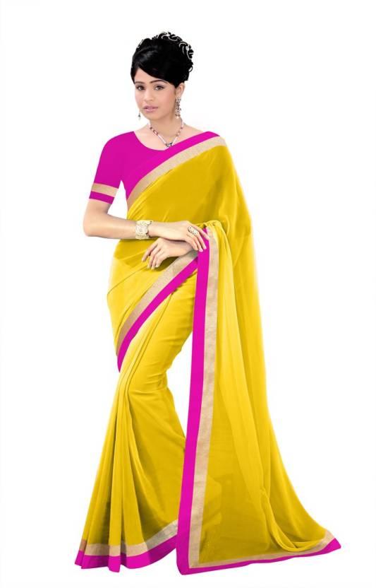 05004bb21a1e Buy Indian Wear Online Plain Fashion Chiffon Yellow Sarees Online ...