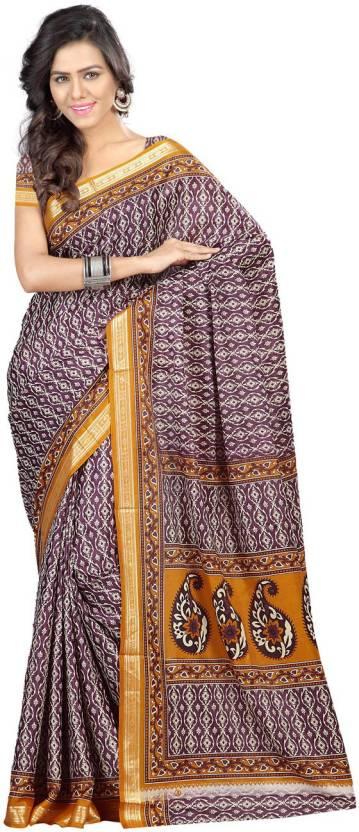 Ambaji Printed Daily Wear Crepe Sari