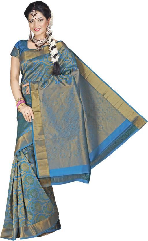 Buy Pothys Self Design Kumbakonam Silk Blue, Gold Sarees