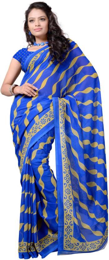 Ambaji Striped Daily Wear Georgette Sari