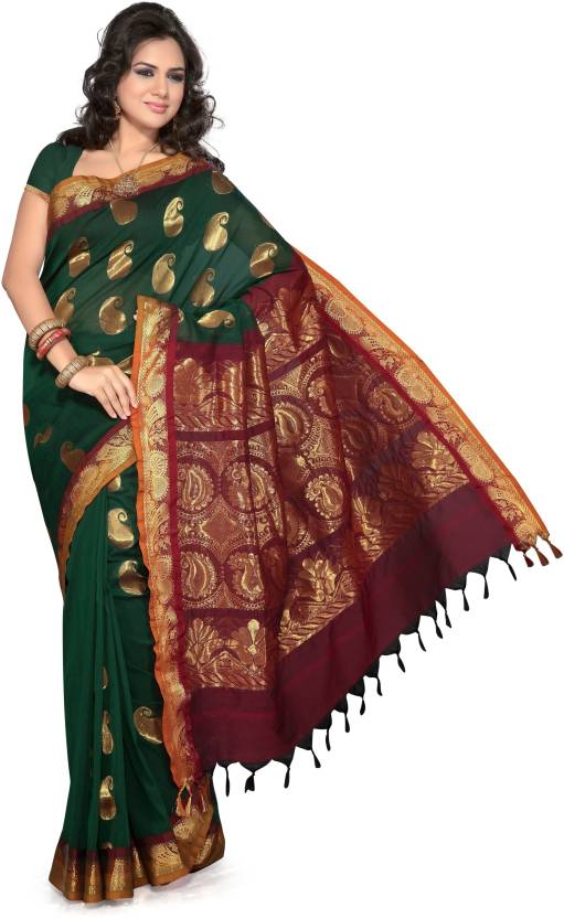 6465255a1d Buy Ishin Printed Cotton Green Sarees Online @ Best Price In India ...