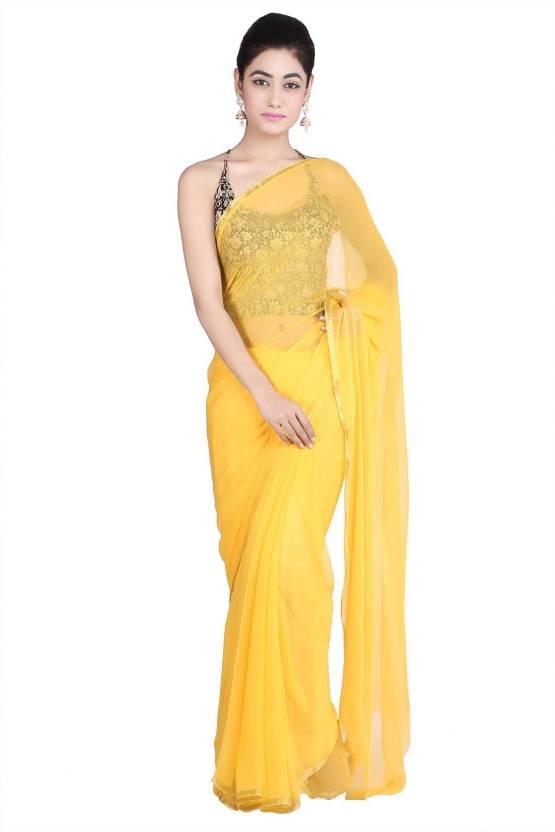 9541d3912e32 Buy Geroo Solid, Plain Fashion Chiffon, Pure Chiffon Yellow Sarees ...