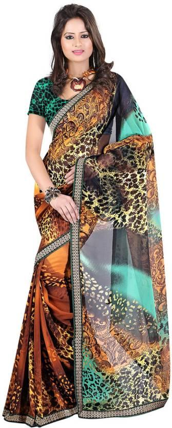 Ambaji Animal Print Fashion Georgette Sari
