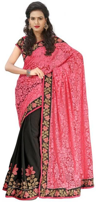 331969019f Sareeka Sarees Embroidered, Floral Print Bollywood Brasso Saree (Pink,  Black)