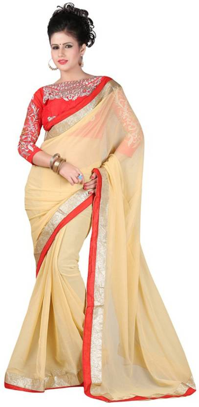f0bbb7be588029 Buy Monika Silk Mill Solid Daily Wear Georgette Gold Sarees Online ...
