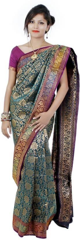 Shanti Creation Applique, Solid Banarasi Banarasi Silk Saree
