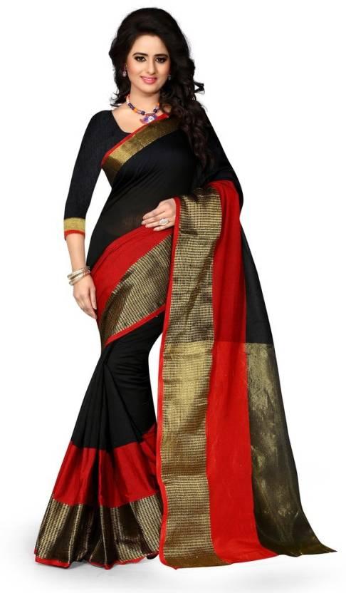Style U Solid Banarasi Art Silk Sari - Buy Black and Red Style U Solid  Banarasi Art Silk Sari Online at Best Prices in India  9af49c36f