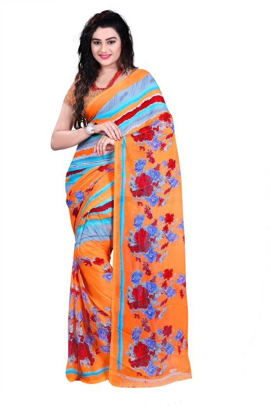 Ambaji Floral Print Daily Wear Chiffon Saree