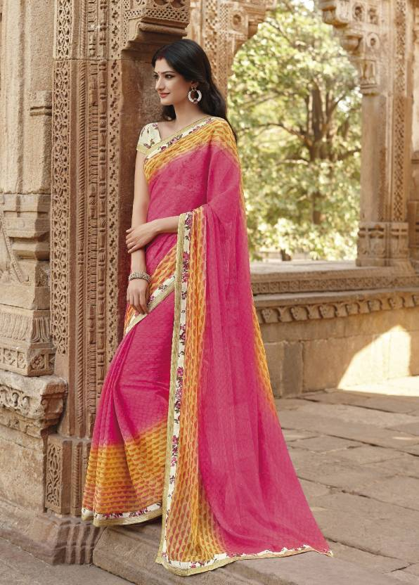 e83a9b998b Buy Laxmipati Sarees Solid Fashion Georgette Pink, Yellow Sarees ...