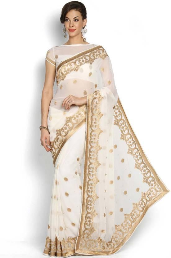 39cfc6b45f3 Buy Soch Embroidered Fashion Georgette White Sarees Online   Best ...