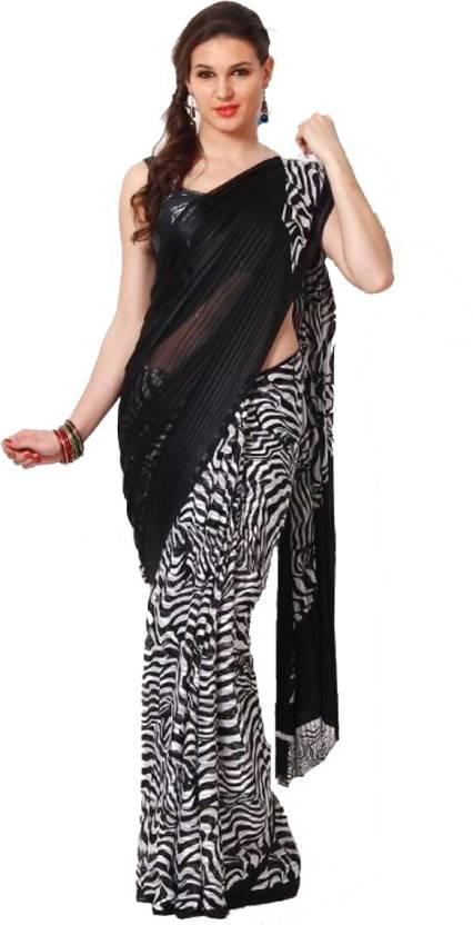 Sitaram Animal Print Fashion Satin Saree (Black 8854b4054