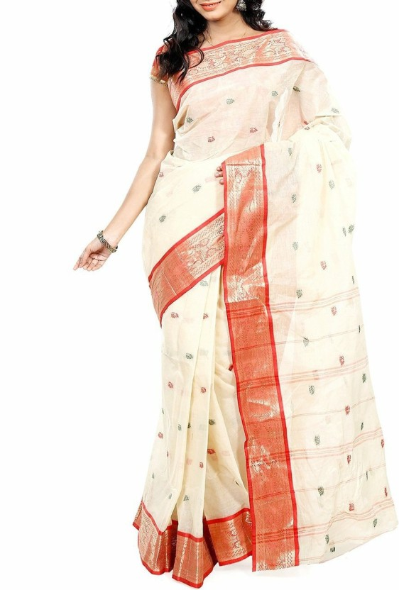 fabindia sofa designs refil sofa design living room online FabIndian Embroidered Jamdani Handloom Cotton Saree (White, Red)