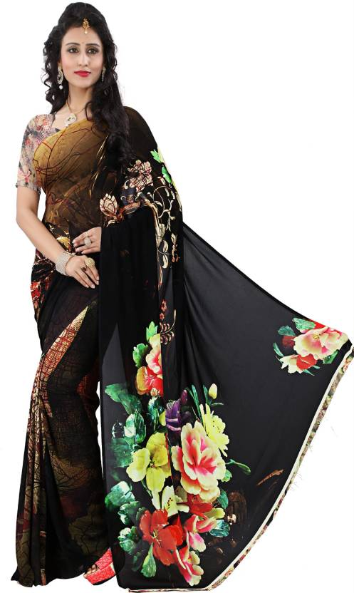 1fe48b3625 Kalaa Varsha Digital Prints, Floral Print Fashion Synthetic Georgette Saree  (Multicolor)