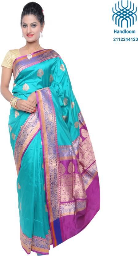 c79257e77f3696 Ujala Silk Handloom Self Design Banarasi Silk Saree (Light Blue