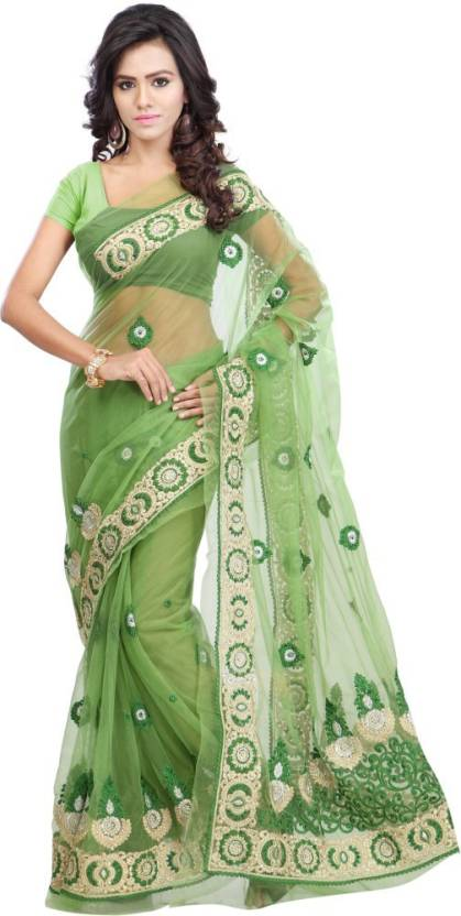 a30c972d5c5f2 Buy Khazana Embroidered Fashion Net Green Sarees Online @ Best Price ...