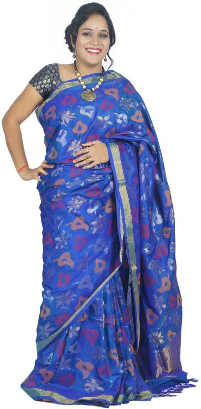 c76d608f5 Buy Uppada Self Design Jamdani Silk Blue, Gold Sarees Online @ Best ...