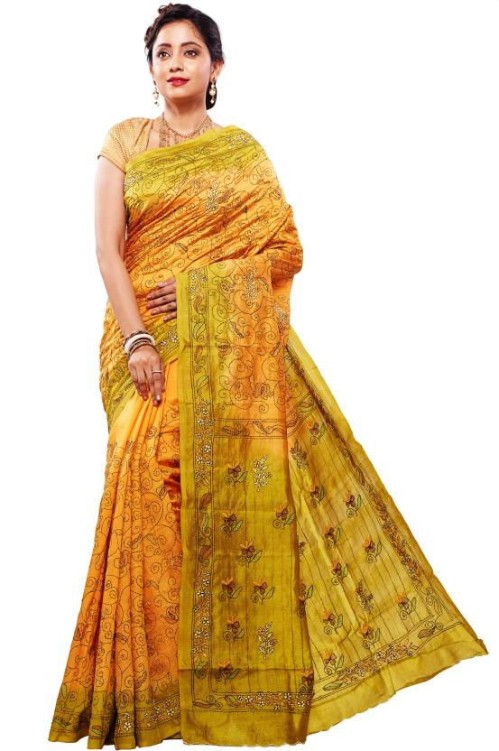 46a4c0b23 RB Sarees Embroidered Katha Pure Silk, Dupion Silk Saree (Yellow, Green,  Mustard, Gold, Dark Green, Multicolor)