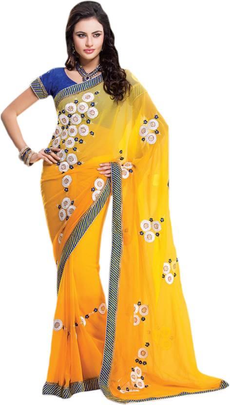 ae88d936fcd867 Buy Cbazaar Printed Leheria Chiffon Yellow Sarees Online @ Best ...